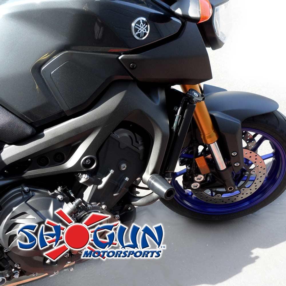 FZ09 14-16 NO CUT Black Frame Sliders - Moto911.com